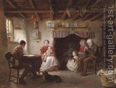 Sabbath evening in a shepherd's cottage by Sydney S. Morrish - Reproduction Oil Painting