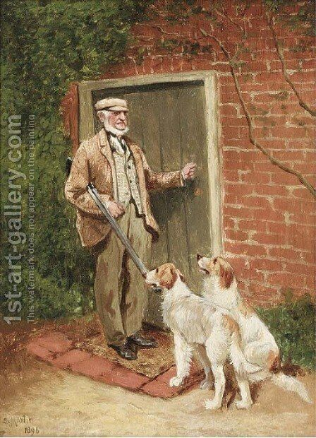 The gamekeeper with his dogs by Sylvester Martin - Reproduction Oil Painting