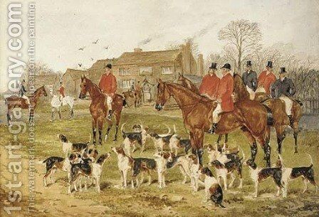 The meet at the Fox Inn, Bransford, Worcester; and On the scent by Sylvester Martin - Reproduction Oil Painting