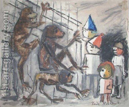 Singes et quatre enfants by Tadeusz Makowski - Reproduction Oil Painting