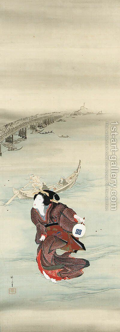 A geisha hunting fireflies in the Sumida River by Teisai Hokuba - Reproduction Oil Painting