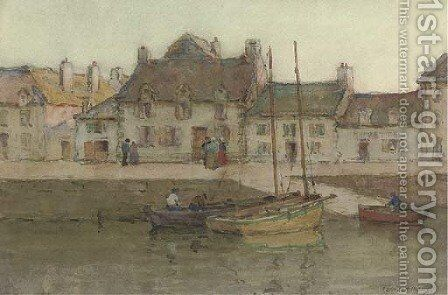 Harbourside, Concarneau by Terrick John Williams - Reproduction Oil Painting