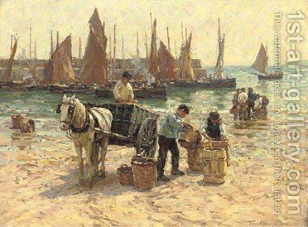 On the beach, St. Ives, Cornwall by Terrick John Williams - Reproduction Oil Painting