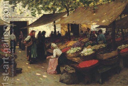 Fruit Market, Fiume, Hungary by Terrick John Williams - Reproduction Oil Painting