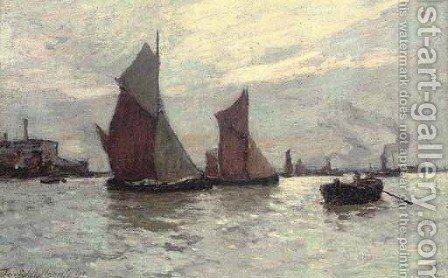Barges on the Thames at dusk by Terrick John Williams - Reproduction Oil Painting