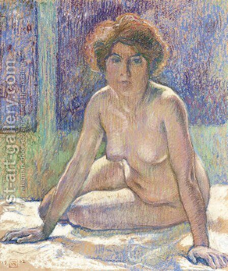 Nu assis s'appuyant sur les mains by Theo Van Rysselberghe - Reproduction Oil Painting