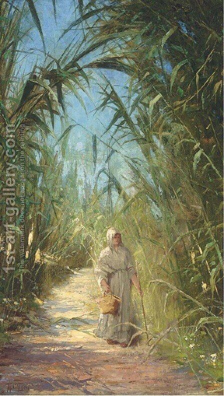 A woman in a South American sugar plantation by Theodor Ohlsen - Reproduction Oil Painting