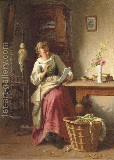 Writing to a loved one by Theodore Gerard - Reproduction Oil Painting