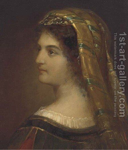 Portrait of a woman, bust-length, in Greek costume by Theodore Tchoumakoff - Reproduction Oil Painting