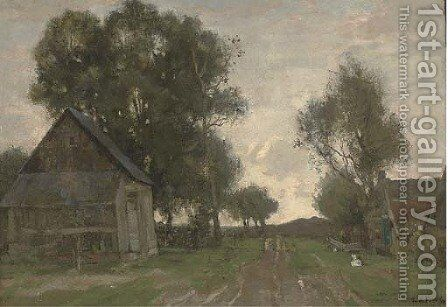 Farm buildings, the end of the day by Theophile Emile Achille De Bock - Reproduction Oil Painting