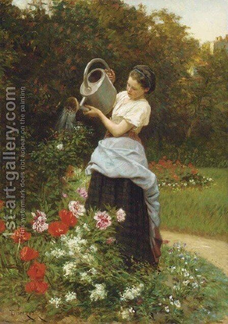 Tending the garden by Theophile Emmanuel Duverger - Reproduction Oil Painting