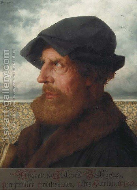 Portrait of Augerius Gislenus Busbequius (1522-1592) by Theophile Lybaert - Reproduction Oil Painting