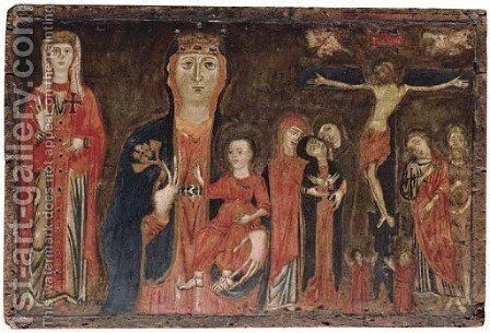 The Madonna and Child flanked by Ecclesia and The Crucifixion by Master of Magdalen - Reproduction Oil Painting