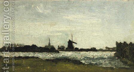 River landscape with steeple and mill by Theo van Doesburg - Reproduction Oil Painting