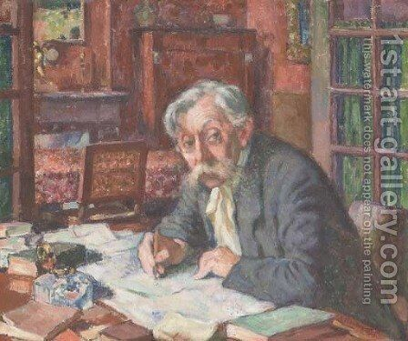 Emile Verhaeren ecrivant by Theo Van Rysselberghe - Reproduction Oil Painting