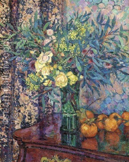 Kakis, roses et mimosas by Theo Van Rysselberghe - Reproduction Oil Painting
