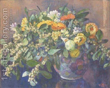 Vase de fleurs by Theo Van Rysselberghe - Reproduction Oil Painting