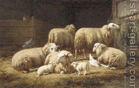 Moutons dans la bergerie by Theo van Sluys - Reproduction Oil Painting