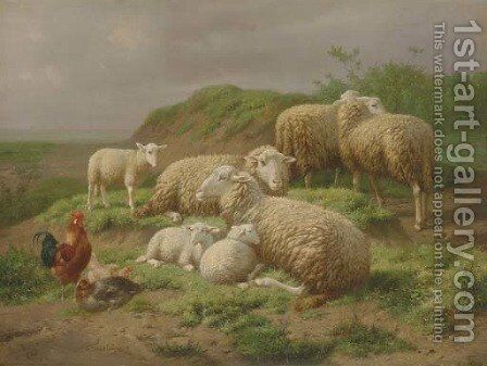 Sheep and Roosters in a Pasture by Theo van Sluys - Reproduction Oil Painting