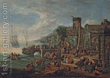 A capriccio of a port with elegant figures by Theobald Michau - Reproduction Oil Painting