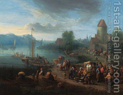 A port on an estuary with fishermen unloading their catch by Theobald Michau - Reproduction Oil Painting