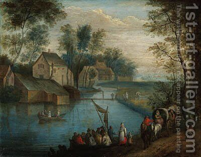 A river landscape with travellers on a path and peasants boating, a village beyond by Theobald Michau - Reproduction Oil Painting