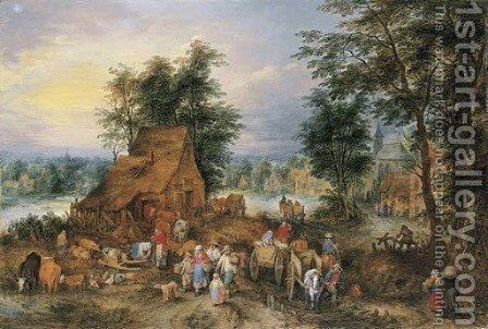 A village scene with peasants at work by Theobald Michau - Reproduction Oil Painting