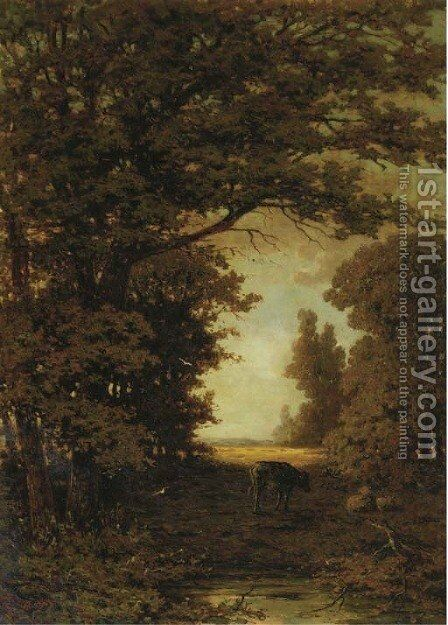 Cattle on a forestpath by Theodoor Soeterik - Reproduction Oil Painting