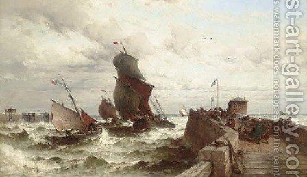 Ships entering a Port in a Storm by Theodor Alexander Weber - Reproduction Oil Painting