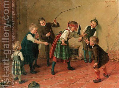 Blind Man's Bluff by Theodor Kleehaas - Reproduction Oil Painting