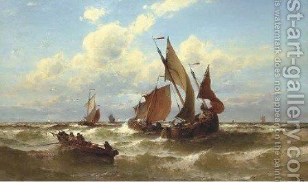 Bateaux de Blankenberghe fishing on a choppy sea by Theodor Alexander Weber - Reproduction Oil Painting