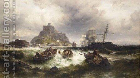 Salvaging a Shipwreck off St. Michael's Mount by Theodor Alexander Weber - Reproduction Oil Painting