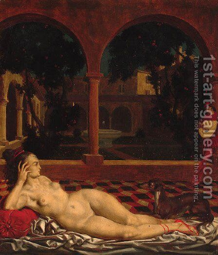 A reclining female nude in a cloister by Theodor Baierl - Reproduction Oil Painting