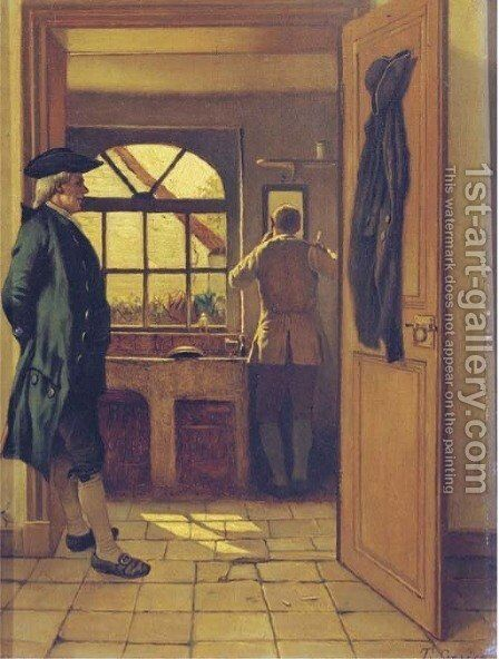 A gentleman's morning ritual by Theodore Ceriez - Reproduction Oil Painting
