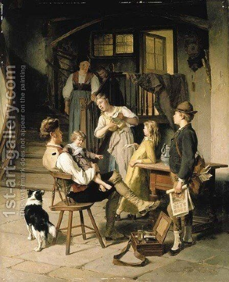 The happy family by Theodore Gerard - Reproduction Oil Painting