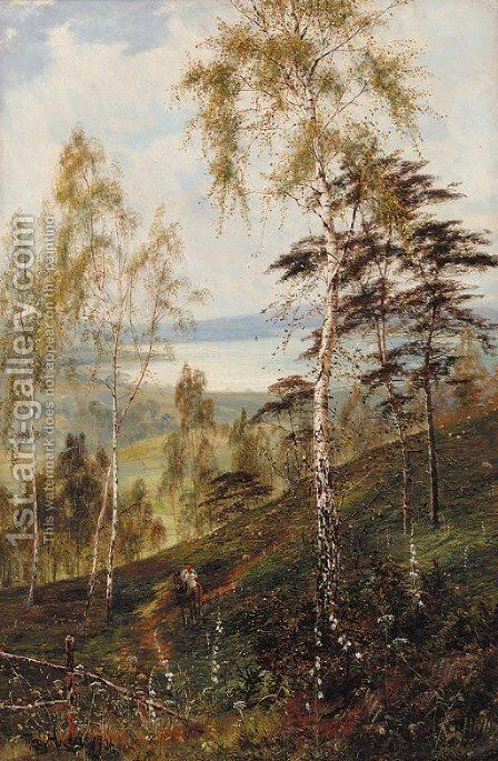 'The Distant Loch', Loch Katrine by Theodore Hines - Reproduction Oil Painting