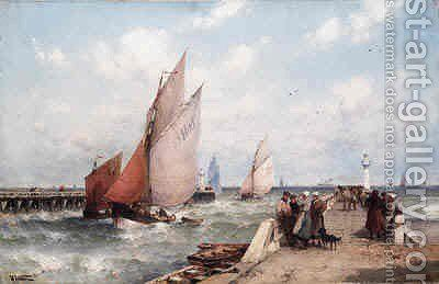 The Jetty by Theodor Alexander Weber - Reproduction Oil Painting