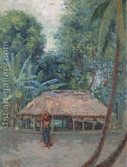 Samoan Landscape by Theodore Wores - Reproduction Oil Painting