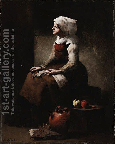La Tricoteuse (The Knitter) by Theodule Augustine Ribot - Reproduction Oil Painting