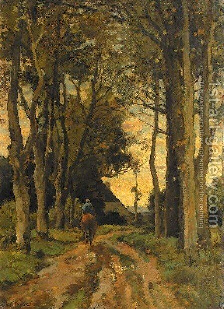 A horserider on a tree-lined lane by Theophile Emile Achille De Bock - Reproduction Oil Painting
