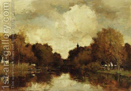 A wooded river landscape by Theophile Emile Achille De Bock - Reproduction Oil Painting