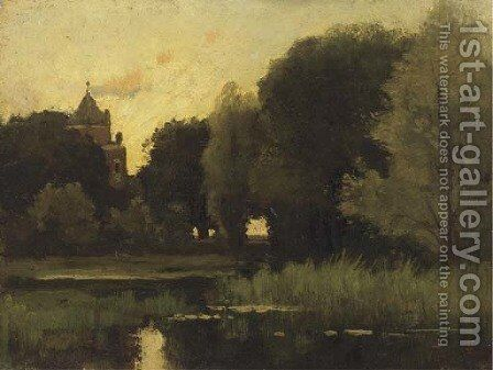 Castle Doorwerth seen from the grounds by Theophile Emile Achille De Bock - Reproduction Oil Painting