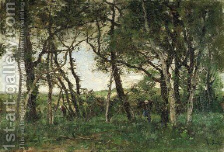 In the wood by Theophile Emile Achille De Bock - Reproduction Oil Painting