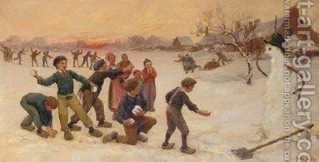 Playing with snowballs by Theophile Louis Deyrolle - Reproduction Oil Painting