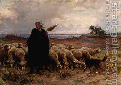 Shepherdess with her Flock by Theophile Louis Deyrolle - Reproduction Oil Painting