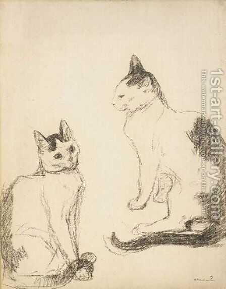 Les deux chats by Theophile Alexandre Steinlen - Reproduction Oil Painting