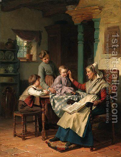 Trying on Grandmother's Spectacles by Thodore Grard - Reproduction Oil Painting