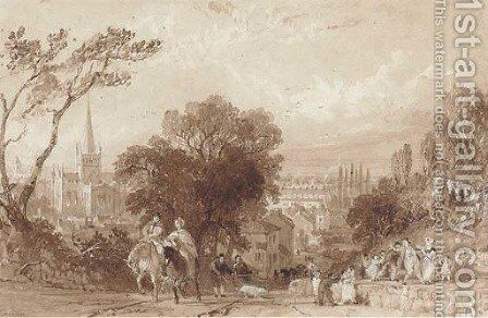 A busy Darlington road with St. Cuthbert's Church in the distance by Thomas Allom - Reproduction Oil Painting