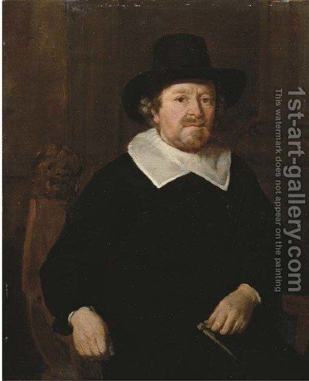 Portrait of a gentleman, three-quarter-length, in a black costume with white collar and black hat by Thomas De Keyser - Reproduction Oil Painting
