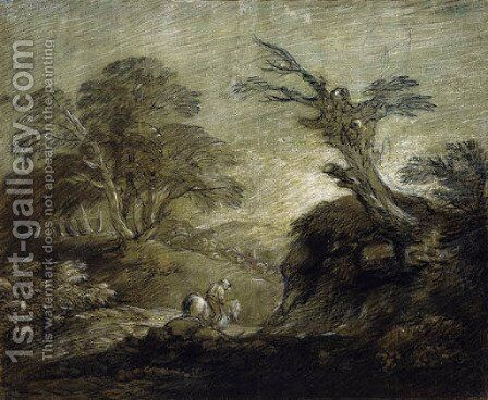 A horseman on a track in a wooded landscape by Thomas Gainsborough - Reproduction Oil Painting